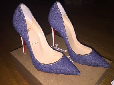 Christian Louboutin So Kate 120 Denim/ Jazz Calf Blue Heel 38.5