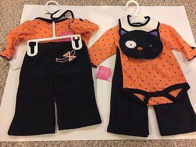 NWT Bon Bebe Kitty 3pc OUTFIT Girl 0-3M HALLOWEEN Bodysuit Cat Tail Pants Bib