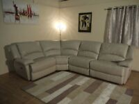 Ex-display Ronson light grey leather electric recliner corner sofa