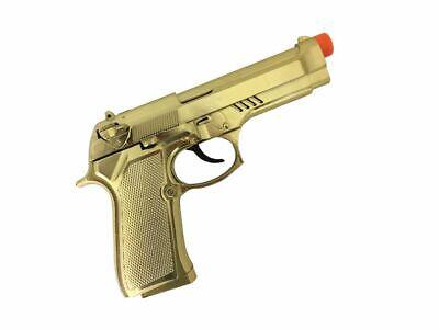 Pistole Gold mit Soundeffekt Gangster Mafia Zuhälter Pimp Kostüm - Gangster Kostüm Requisiten