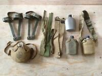 4 Army surplus or scouts canteens, belts, bag & cot feet