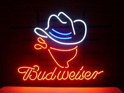 New Budweiser Cowboy Hat Neon Light Sign 17
