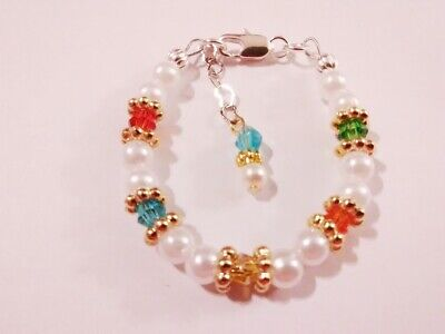 Newborn baby/toddler/childrens white and crystal pearl bracelet  - Toddler Jewelry