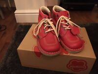 Kickers Red Leather Boots Size 6