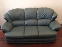 Leather 3 piece suite - green (3 seat sofa & 2 armchairs)
