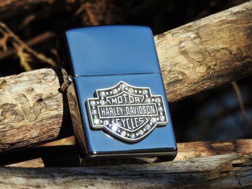 Zippo Lighter - Harley Davidson - Bar and Shield - Swarovski Crystal - # 28349