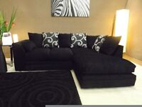 brand new in stock - Zina corner sofas left or right black fabric sofa and all under warranty