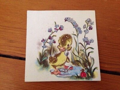 Vtg 1946 Brownie Fuzzy Crying Yellow Duck Duckling in Pond Blank Greeting Card