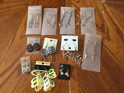 Lot Of 12 Pair Dangle Earrings Costume Quality