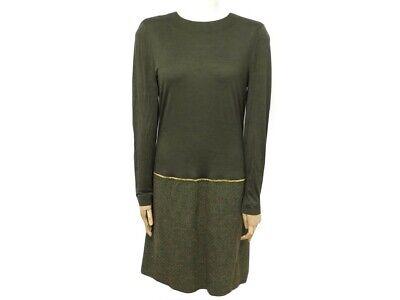 Neuf robe chanel a manches longues t 40 m en coton kaki chaine dore dress 2200€
