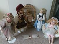 Porcelain dolls bundle Leonardo Diana Effner and chair