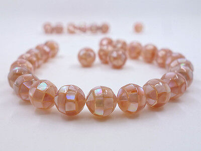 12mm Handmade Mother of pearl MOP pink shell mosaic ball round loose beads