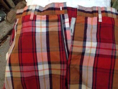KORATRON Vtg 60's 70's 80s Red Orange Plaid Golf Shorts pants bermuda Sz 30