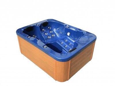 VASCA IDROMASSAGGIO ALL'aperto blu con riscaldamento led ozono Hot Tub 2 - 3