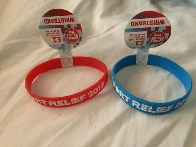 Sport Relief 2018 - 2 Wristbands Red & Blue - New
