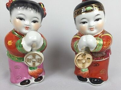 Chinese Prosperity Figures Statue Boy  Girl  Bank 7In  Two