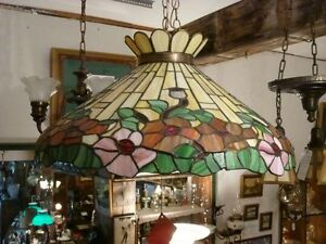 ****ANTIQUE LEADED STAINED GLASS DININGROOM LIGHT FIXTURE*****