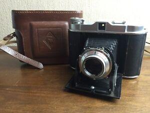 vintage cold war franka solida II folding camera branded case  untested
