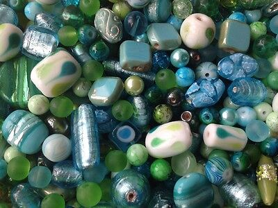 * BEAUTIFUL MIX OF TURQUOISE BLUE & GREEN GLASS BEADS FOR JEWELLERY MAKING-40g *