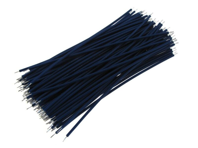 【10CM】 28AWG Standard Jumper Wire Pre-cut Pre-soldered - Blue - Pack of 100