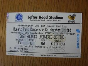06-09-2000-Ticket-Queens-Park-Rangers-v-Colchester-United-Football-League-Cup