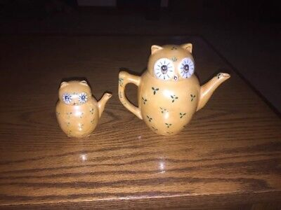"Pier 1 ~Vintage~ 5"" Owl Teapot ~3"" Owl Creamer~ Made in China"
