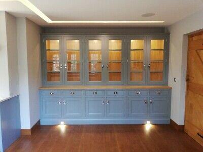 Used Stephen Anthony Kitchen Glass Top Media Units / Dresser, Oak Worktop