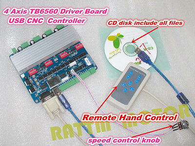 4 Axis Nema23 Tb6560 Usbcnc Stepper Motor Driver Controller Boardremote Control