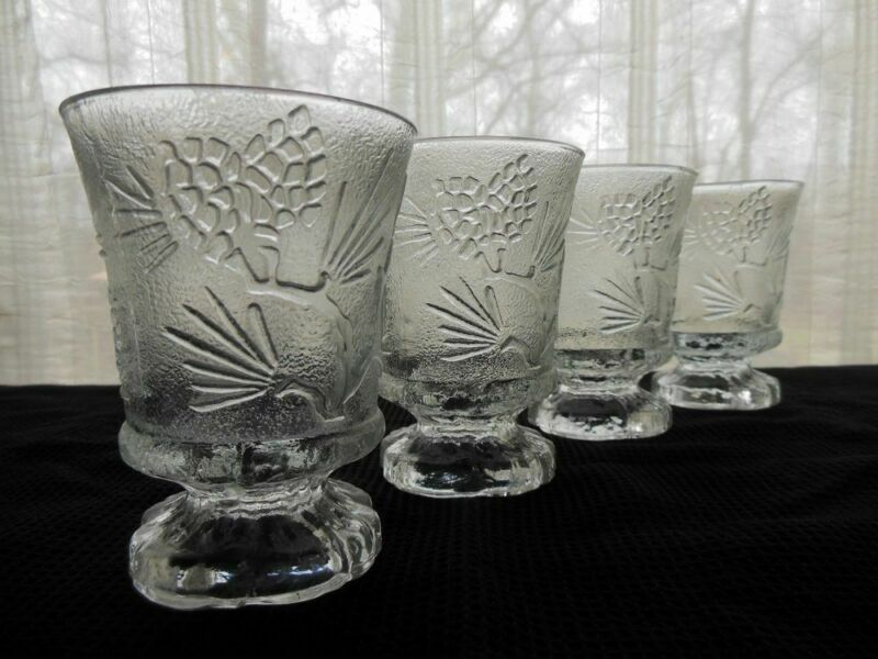 """Indiana Glass Tiara PONDEROSA PINE 6"""" Footed Water Goblets / Glasses"""
