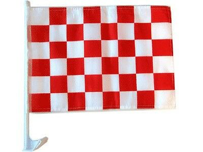 12x18 Rot Weiß Kariert Kariert Rennwagen Fenster Fahrzeug 30.5cmx45.7cm Flagge