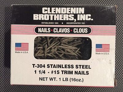 T 304 1lb Box 1-14 Stainless Steel 15 Trim Nails Made In Usa Clendenin