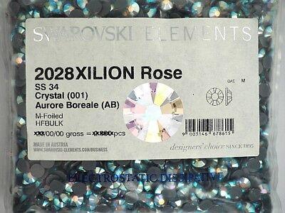 2028 Flat Back Ss34 Crystal (Swarovski Xilion Rose flatback HotFix Art.2028, 34ss Crystal AB HF, 7.2mm)