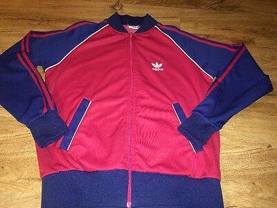 VTG 80s Adidas Track Warmup Trefoil Firebird Jacket LARGE RED BLUE WHITE NICE!