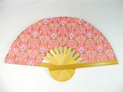 Handheld Fan - Folding Bamboo Fan - Thai Leaf Fabric - Light Pink
