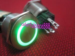 1-25mm-12V-Green-Led-Stainless-Switch-Momentary-Push-Button-6-Pins-Waterproof