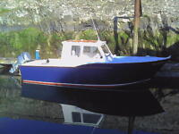 Boat for sale. Recently constructed 21-foot fast fisher boat fitted with 90hp Honda outboard engine.