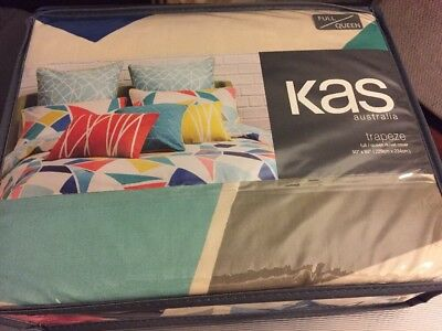 (KAS Trapeze FULL / QUEEN Duvet Comforter Cover Bold Geometric 100% Cotton NEW )