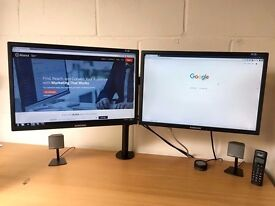 """Samsung Syncmaster 2243BW Dual 22"""" LCD Monitor Setup With Arm/Stand (Double, Twin)"""