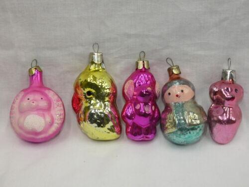 Vintage Christmas Figural Glass Ornament Lot Russia - Girl Bird Hedgehog Dogs