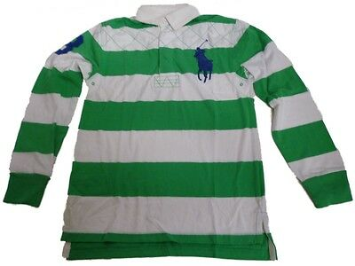 Ralph Lauren Rugby Polo Shirt Top Boys Long Sleeve L/S Green White ...