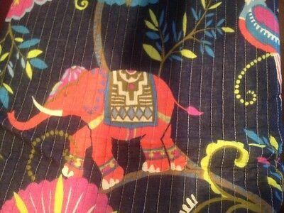 SABI LUXURY TWIN QUILT BLUE ORANGE PINK GIRAFFE ELEPHANT BIRD EXOTIC FLORAL