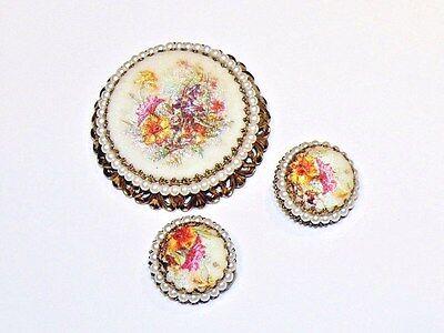 Vintage West Germany Sugar Finish Filigree Brooch Earrings Set Faux Pearls NICE