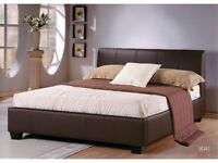 **FREE DELIVERY** DOUBLE LEATHER BED IN BLACK & BROWN AVAILABLE IN SINGLE & KING SIZE