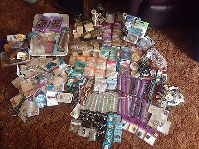 LOT OVER 100 GOLD SILVER JEWELRY MAKING WIRE CHARMS, GLASS BEADS, MUCH MORE NEW