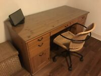 Wooden Desk with swivel chair