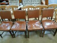 4 oak chairs with studded leatherette seats and backs