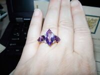 Estate 5.04 ct Amethyst and Diamond 14k Gold Ring