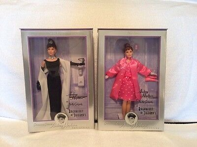 Lot of 2 Audrey Hepburn Breakfast at Tiffany's Black Gown Pink Barbie Doll