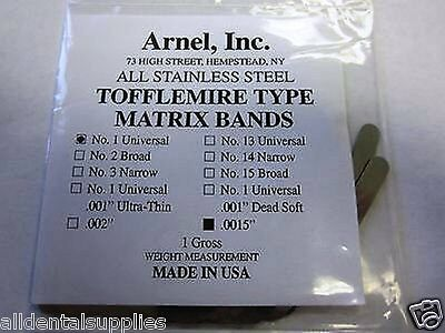 Tofflemire Stainless Steel Matrix Bands 1 .0015 Universal Gross Pk 144 2pk