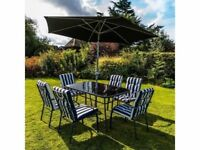 **FREE & FAST UK DELIVERY** Outdoor Garden 8-Piece Navy & White Padded Chairs, Table & Parasol Set